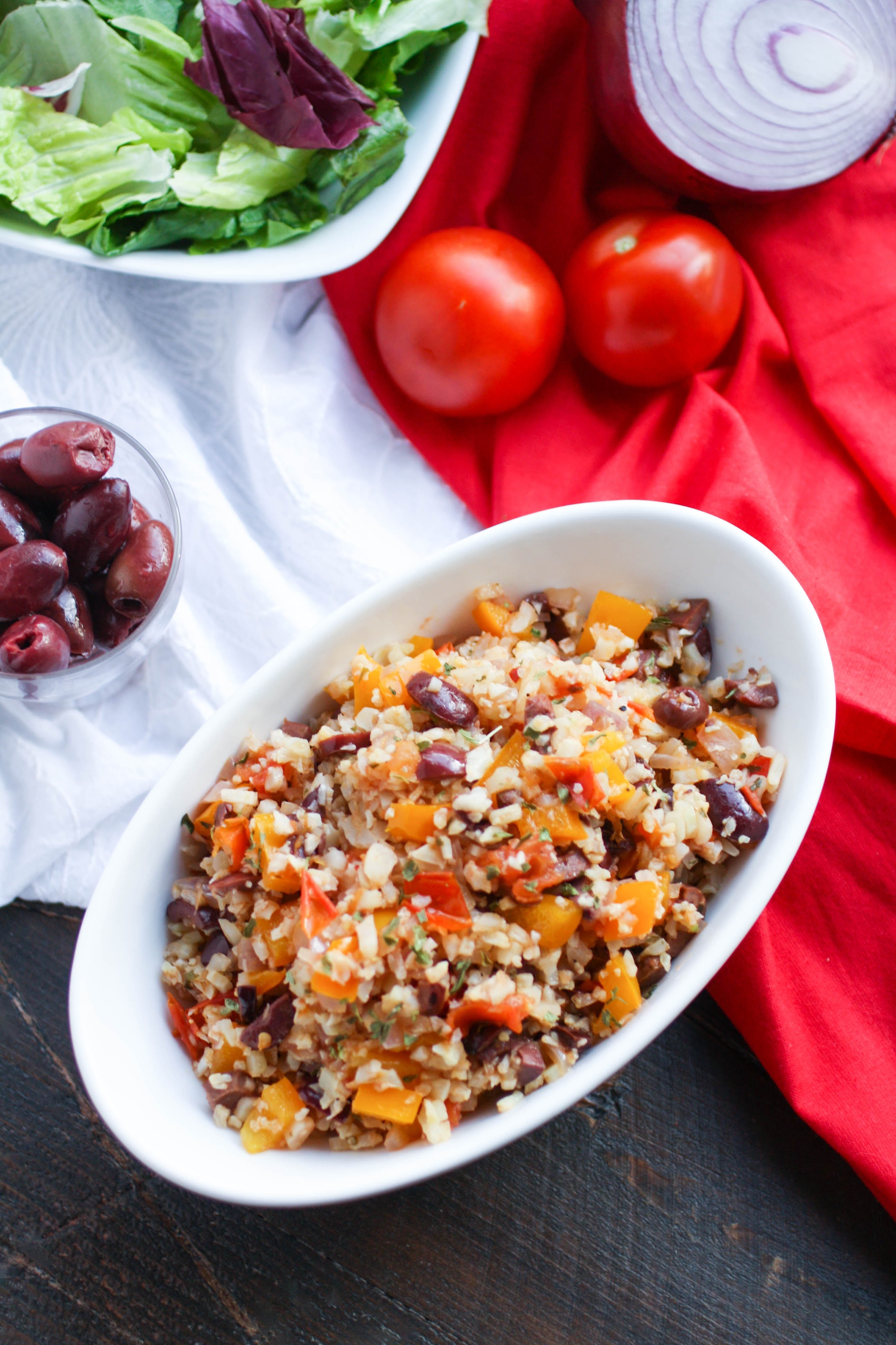 Mediterranean Cauliflower Rice is a healthy and tasty side for any meal. You'll love this flavorful cauliflower rice dish.