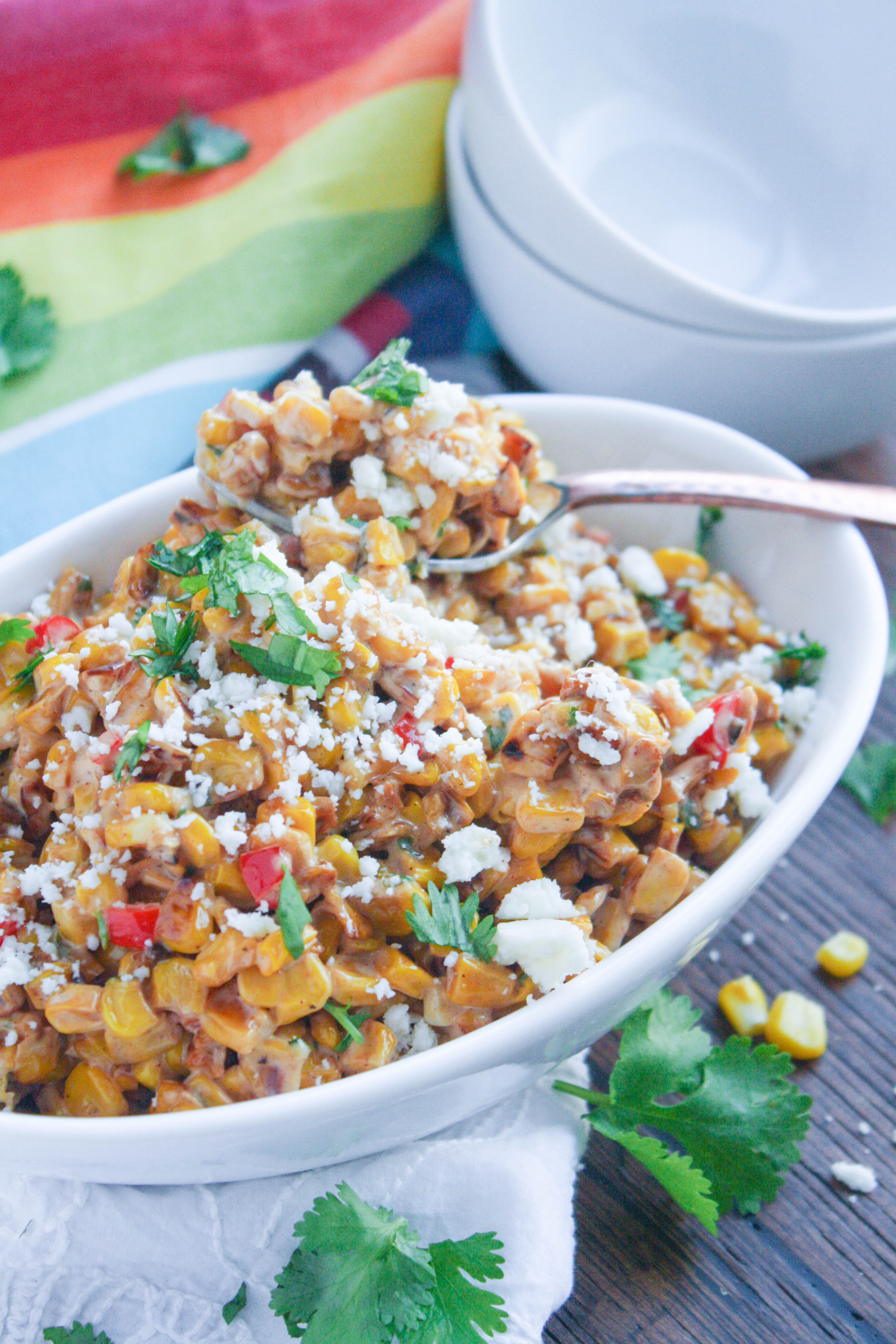 Mexican Street Corn Salad is a fun side for the summer. The flavors are fabulous!
