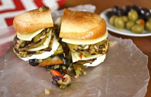 These Eggplant Muffuletta Sandwiches are full of flavor and meatless, too
