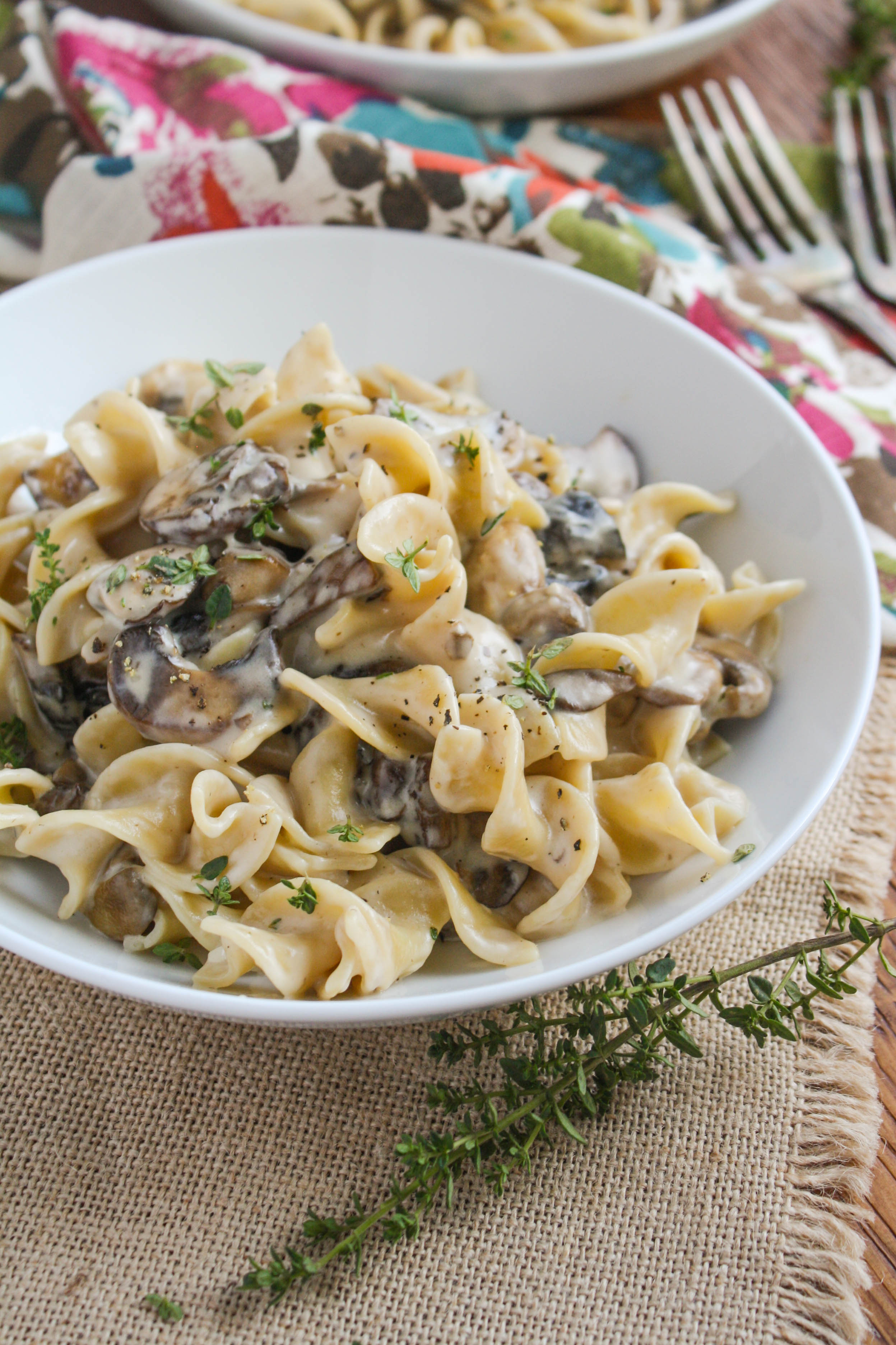 Mushroom Stroganoff is a delicious, creamy dish perfect on a chilly night. You'll love this vegetarian stroganoff dish!