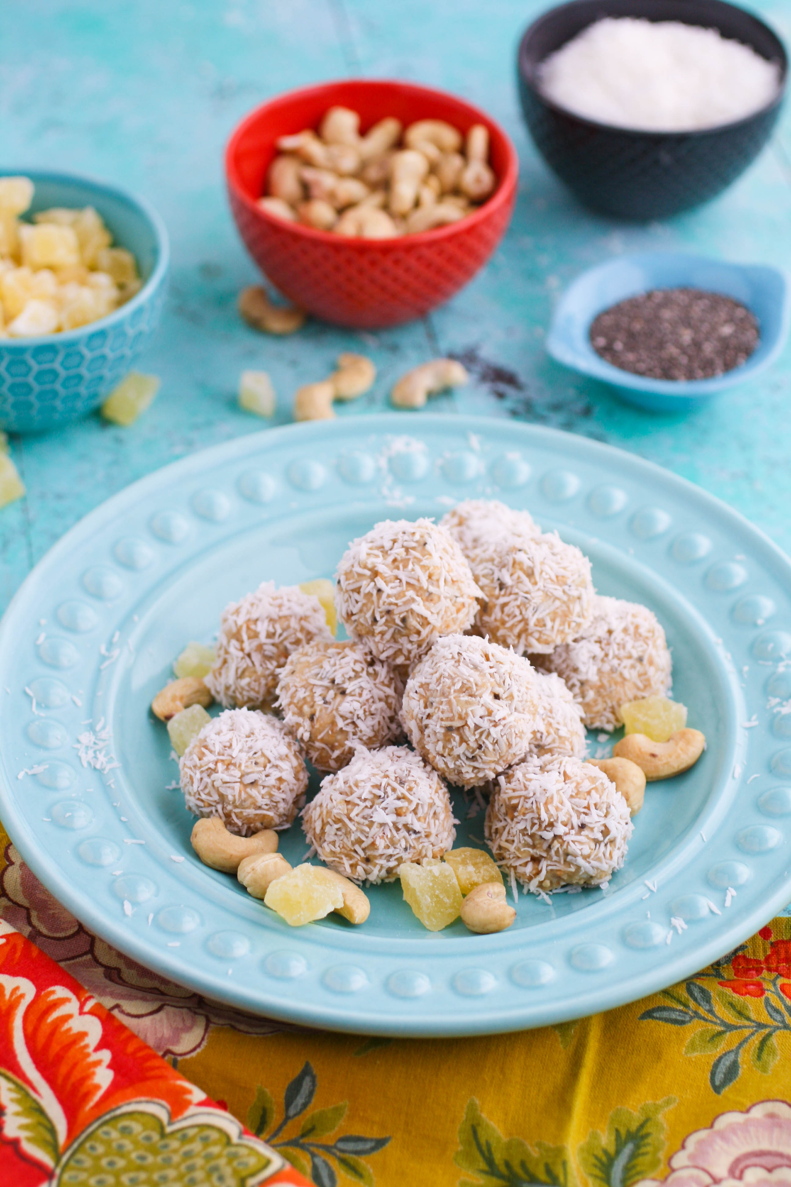 No bake coconut, cashew, and pineapple energy bites are super tasty and make a great snack. You'll love these no bake bites for a great snack option!