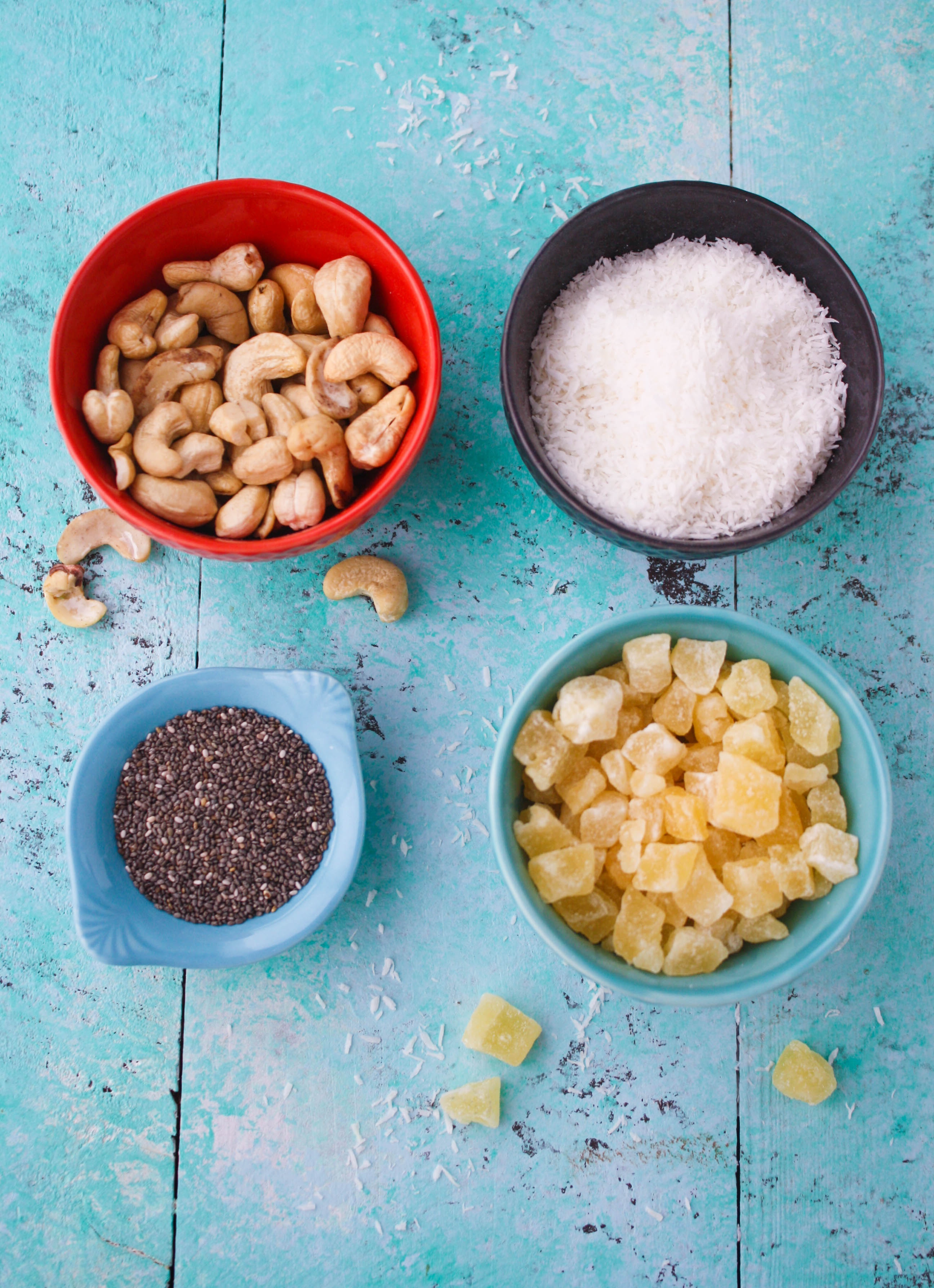 No bake coconut, cashew, and pineapple energy bites are fun and tasty for snacking! You'll love these no bake energy bites any time of day.