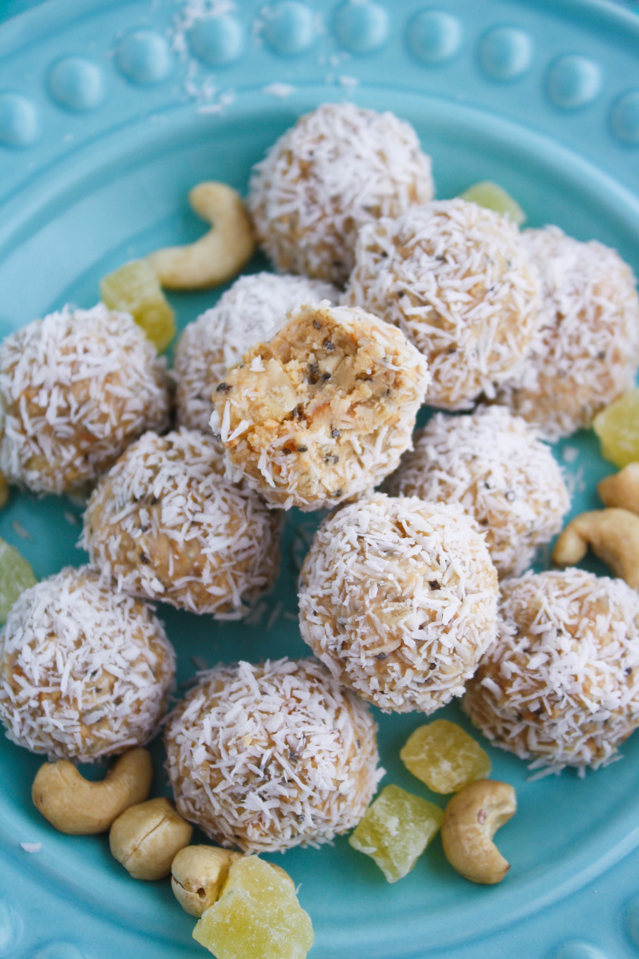 No bake coconut, cashew, and pineapple energy bites are a fun and healthy snack option. You'll enjoy these no bake energy bites when you're hungry!