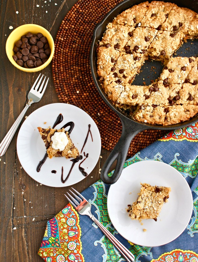 Cut it into pieces or enjoy it straight from the skillet: You'll enjoy this Oatmeal-Chocolate Chip Skillet Cookie either way!