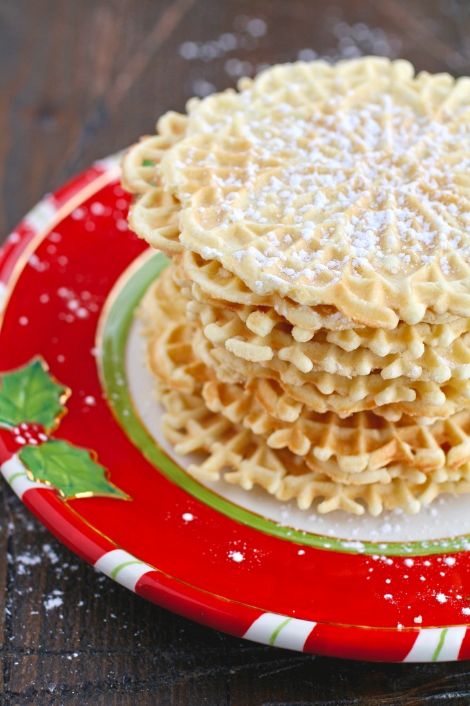 A pretty stack for your holiday cookie platter: Orange-Amaretto Pizzelle Cookies!