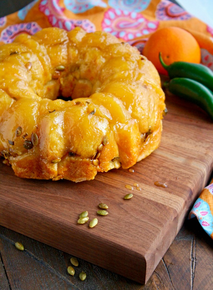 Orange-Jalapeño Monkey Bread with Pepitas makes a fun treat with unexpected flavors!