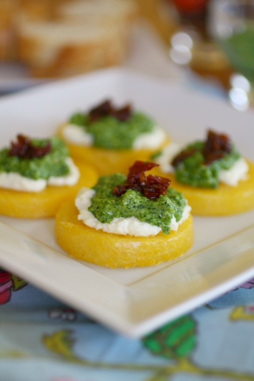 Polenta Cakes with Goat Cheese and Kale Pesto is a fabulous appetizer