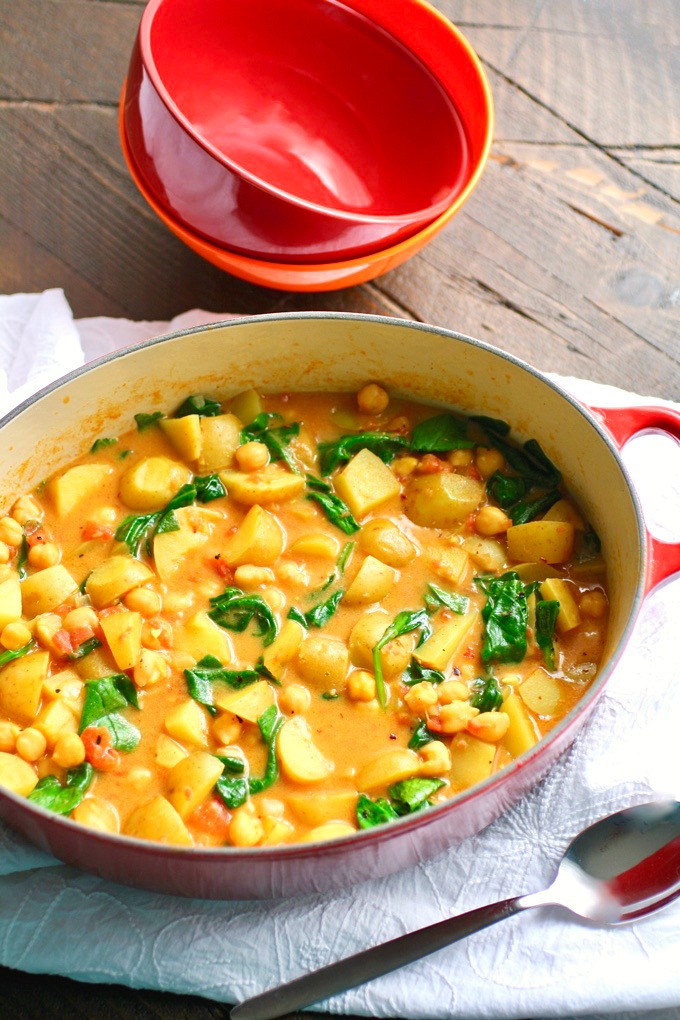 Potato, Chickpea, and Spinach Curry is wonderful on a chilly day. It's filling and fab!