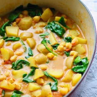 Potato, Chickpea, and Spinach Curry is a great meatless (and vegan) meal. It's big on flavor and color!