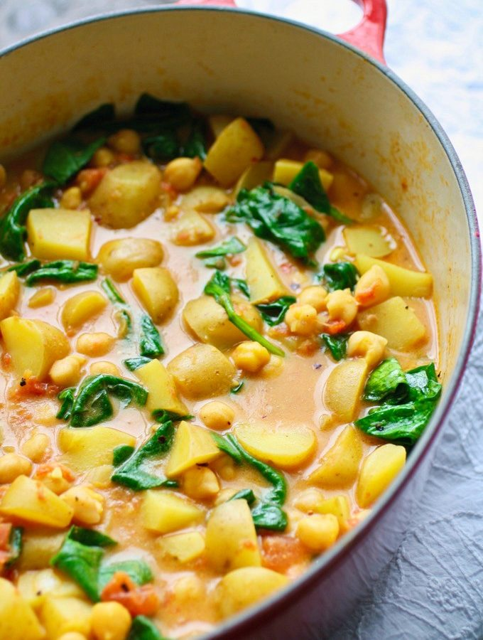 Potato, Chickpea, and Spinach Curry