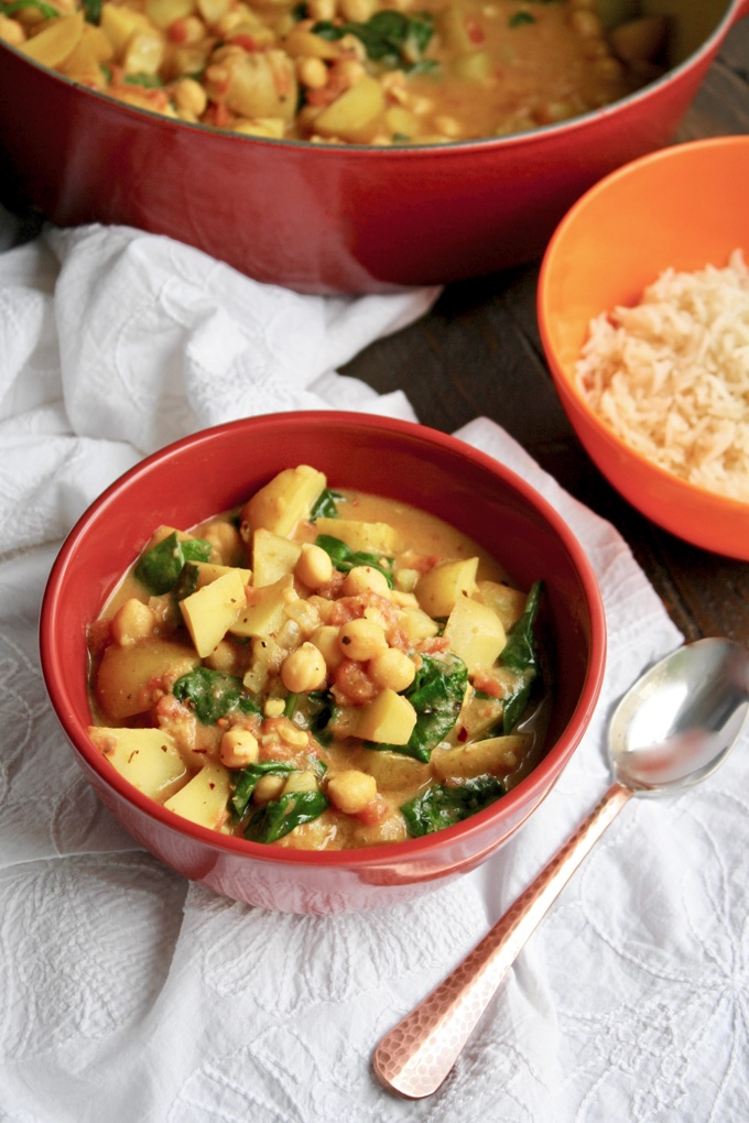 Potato, Chickpea, and Spinach Curry is a filling meatless dish! You'll want to enjoy this often!