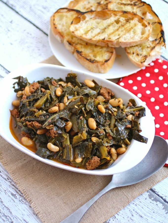 Quick Collard Greens with Sausage and Beans