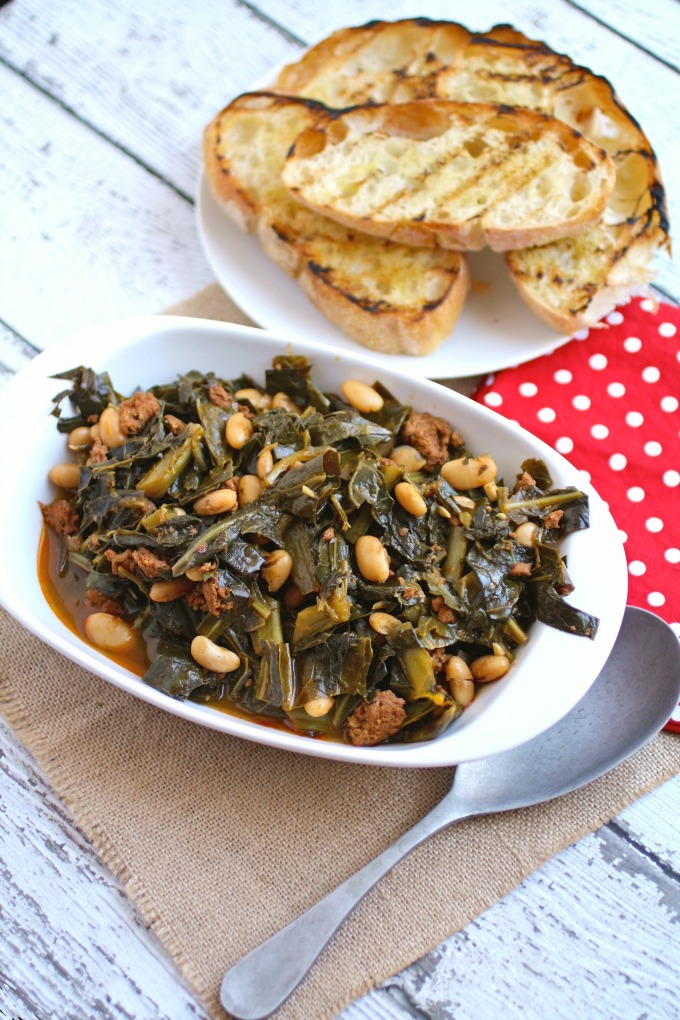 A side dish perfect for New Year's Day, Quick Collard Greens with Sausage and Beans is a treat.
