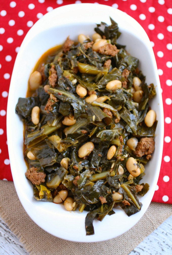 Serve Quick Collard Greens with Sausage and Beans this New Year's Day!