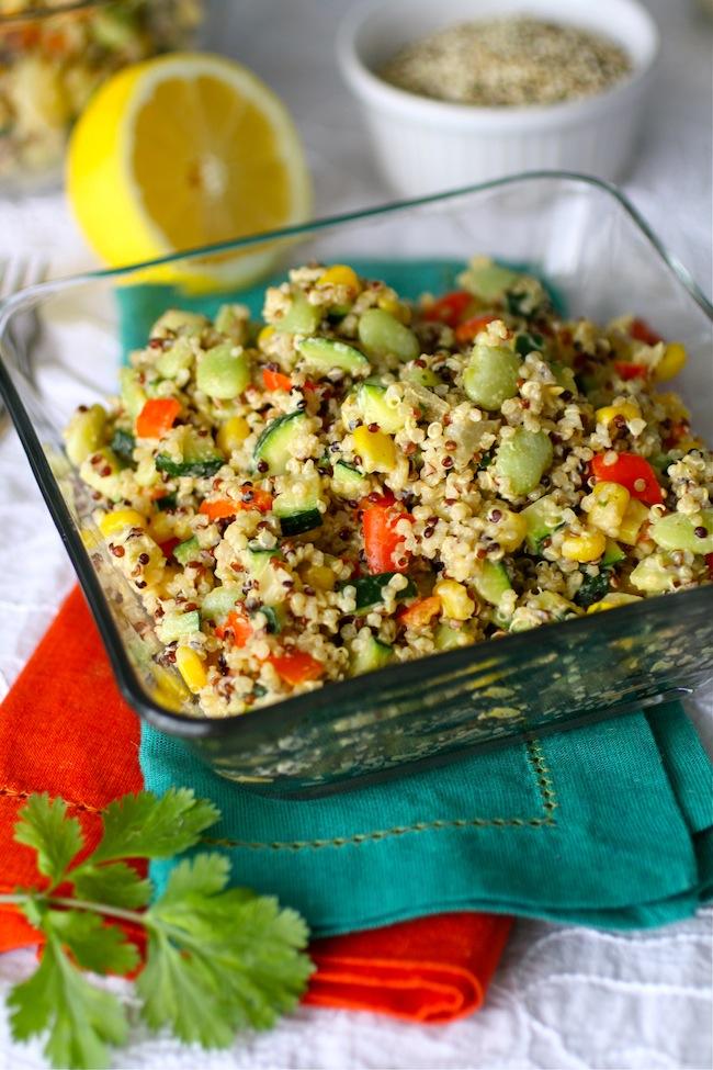 Gluten-free and vegan: Quinoa Succotash with Spiced Tahini Dressing