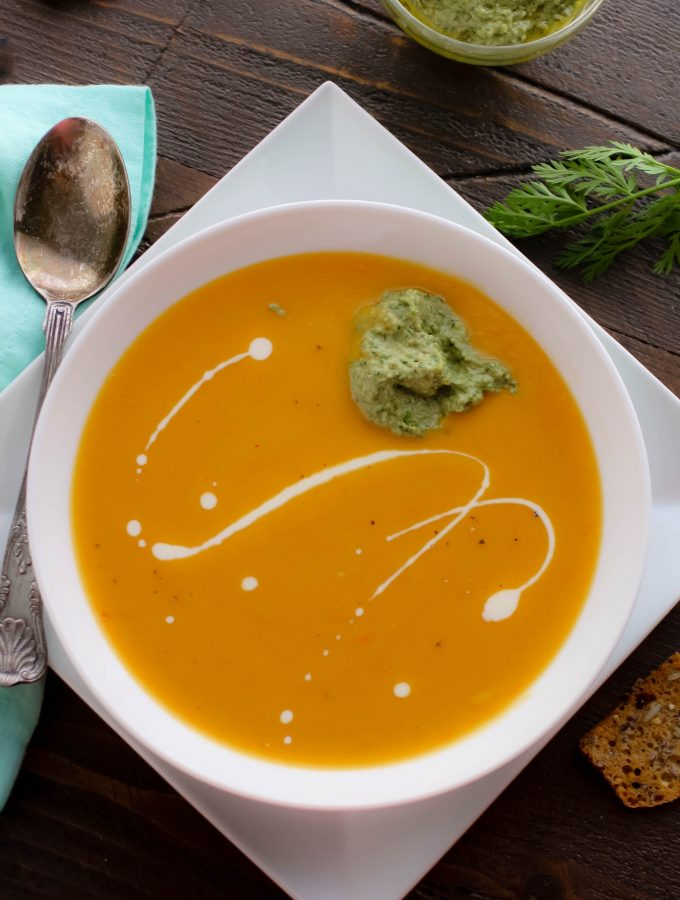 Roasted Carrot and Parsnip Soup with Carrot Greens Pesto