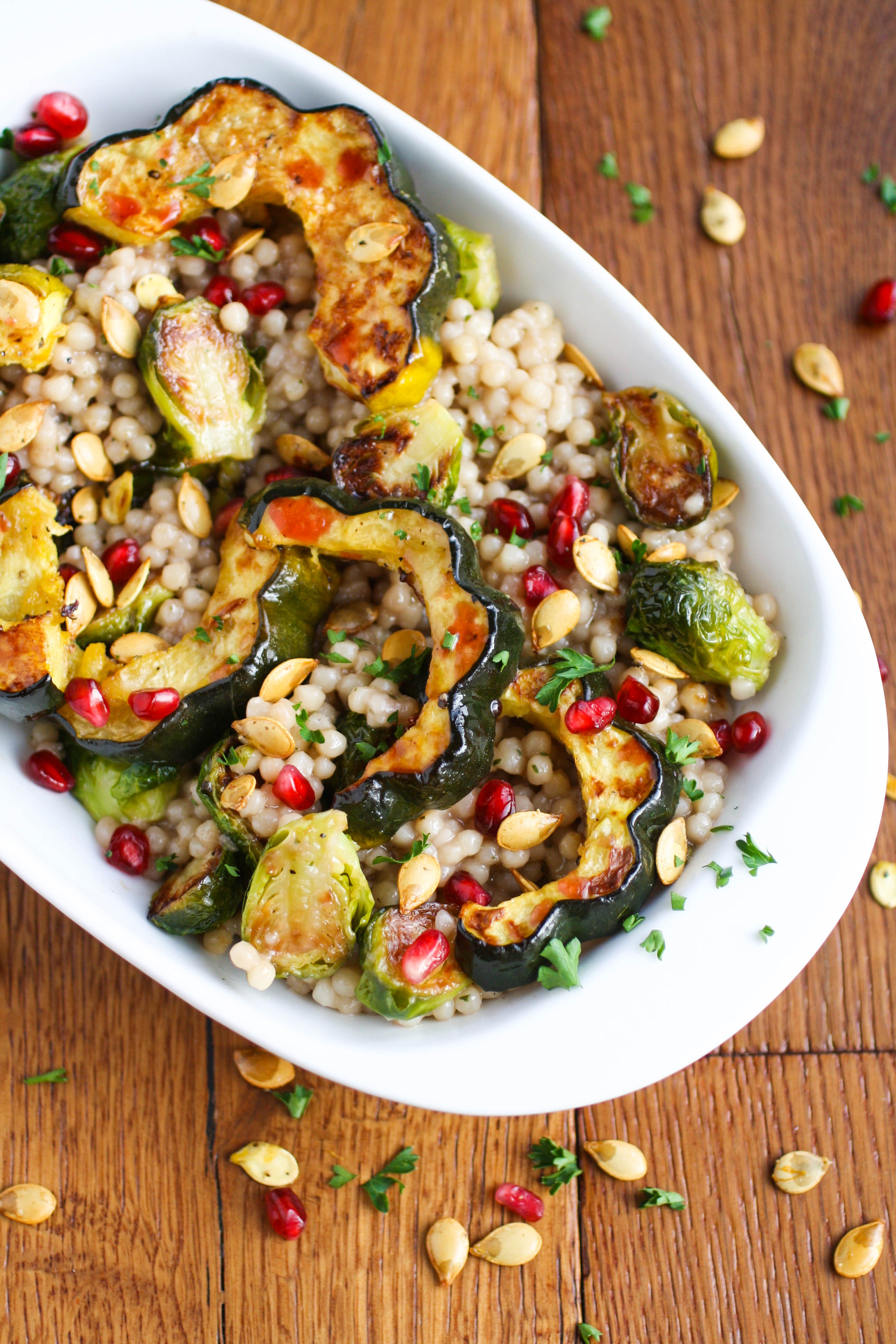 Roasted Fall Vegetable and Couscous Salad with Pomegranate Vinaigrette is a fabulous fall side dish. Serve this side dish all fall season!