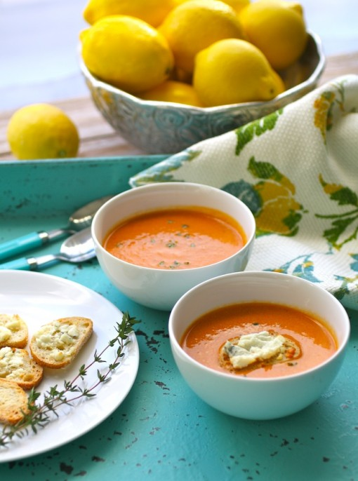 Warming on a cold day: Roasted Tomato Bisque with Blue Cheese Croutons