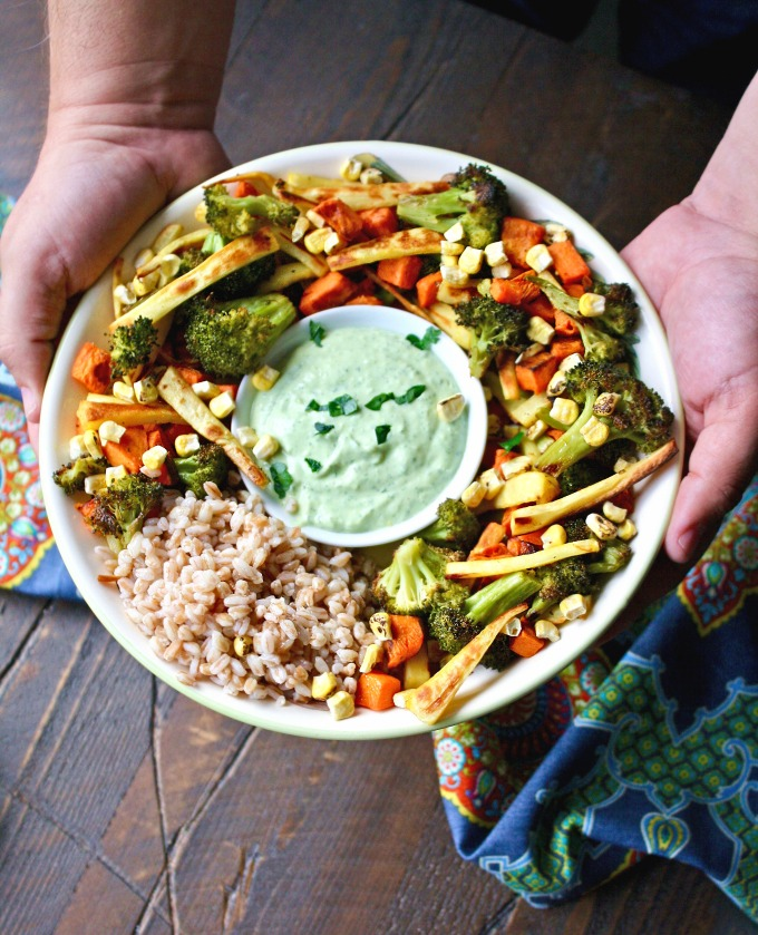Try this Roasted Vegetables and Farro Green Goddess Bowl recipe for a filling and delicious meal.