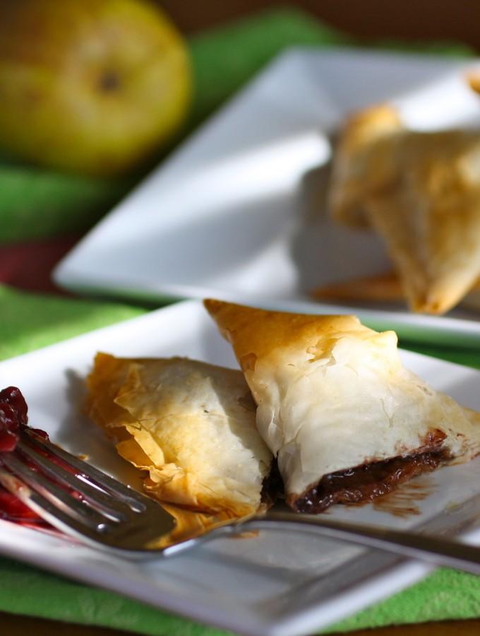 Chocolate Samosas with Pear-Cherry Chutney