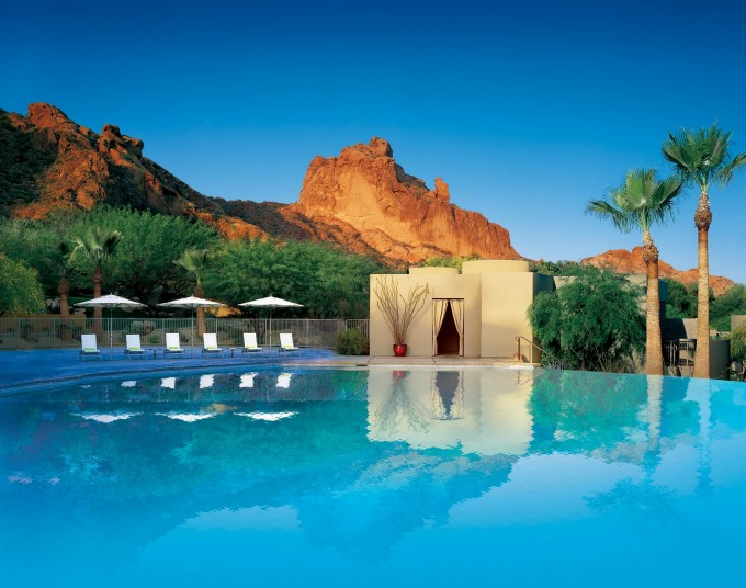 The beautiful poolside view at The Sanctuary Resort & Spa on Camelback Mountain in Scottsdale, Arizona.