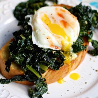 Sauteed Kale on Toast with Poached Eggs is a fab, simple breakfast. You'll love how easy this is to make.