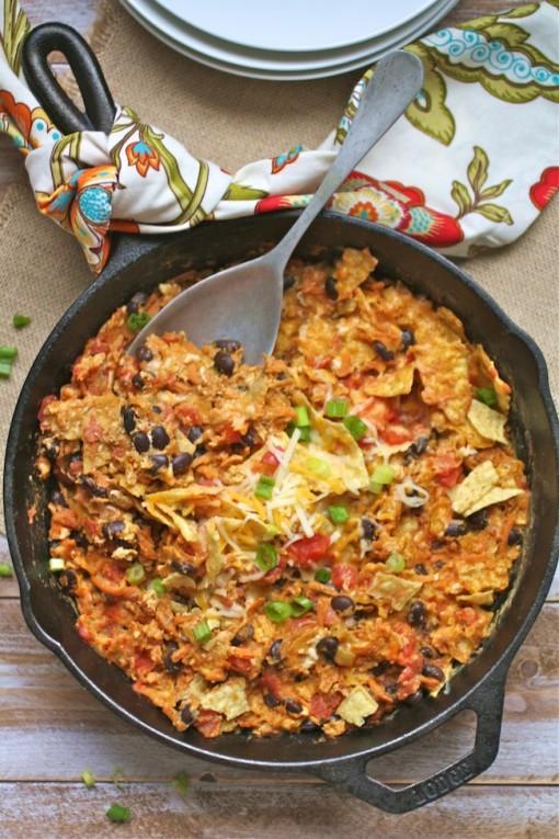 A pan of Skillet Sweet Potato and Black Bean Migas - a tasty vegetarian dish
