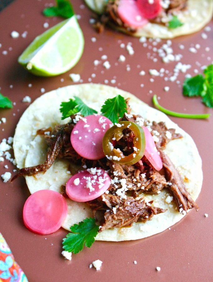 Slow Cooker Beef Carnitas Tacos with Spicy Pickled Radishes