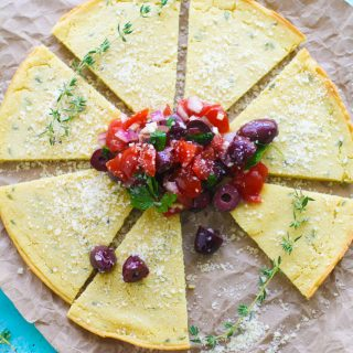 Socca (Chickpea Flour) Flatbread with Tomato and Olive Salad make a wonderful snack between meals. Socca (Chickpea Flour) Flatbread with Tomato and Olive Salad is perfect for a snack, or as an appetizer -- you decide!
