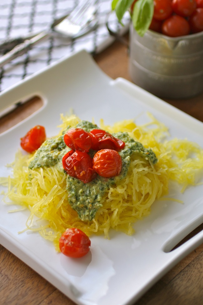 "Enjoy Spaghetti Squash ""Pasta"" with Pesto and Roasted Tomatoes"