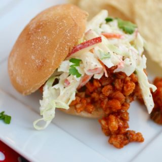Change up a classic to make it even better: Spicy Sloppy Farro Joes with Creamy Cabbage-Apple Slaw!