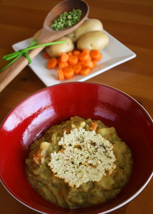 A thick and hearty soup: Split Pea Soup with Parmesan-Thyme Crisps
