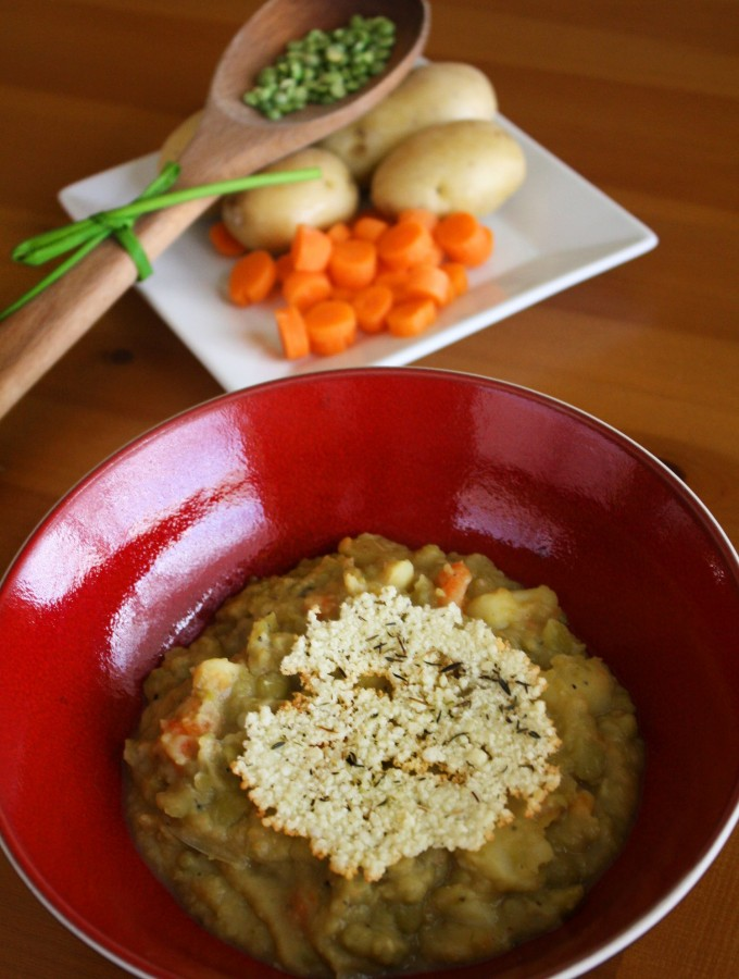 Split Pea Soup with Parmesan-Thyme Crisps