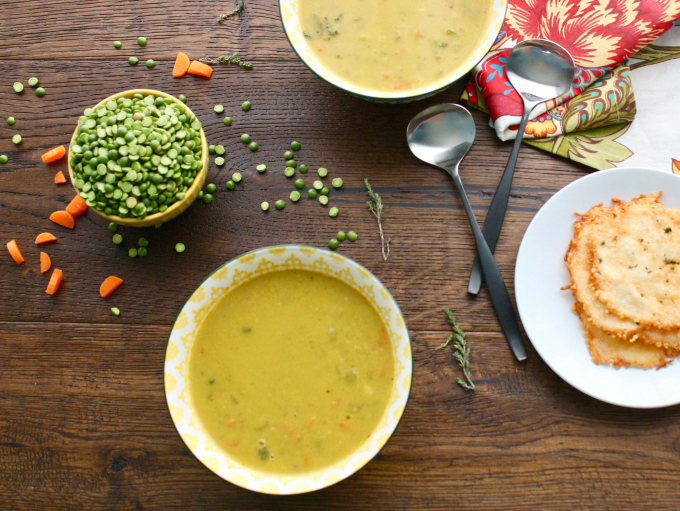 Split Pea Soup with Parmesan-Thyme Crisps is a filling dish. This delightful soup is so easy to make, too!