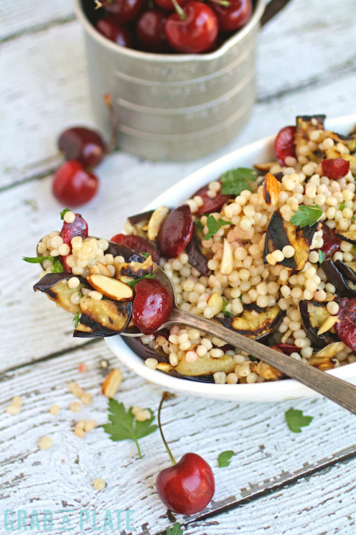 Fresh cherries add so much seasonal flavor to this Meatless Monday Grilled Eggplant, Cherries, and Couscous Salad
