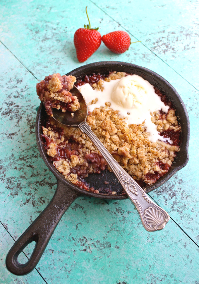 Dig in to Strawberry-Rhubarb Crumble for Two while it's warm!