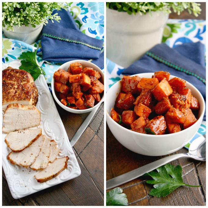 This 4-ingredient dish -- Sriracha-Roasted Pork with Sweet Potatoes -- is amazing!