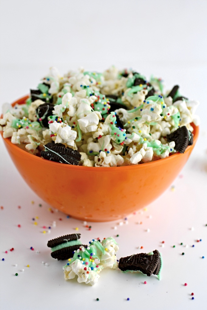 St. Patrick's Day Mint-Chocolate Popcorn Snack is a festive way to add cheer to the day! It's easy to make and fun to eat!