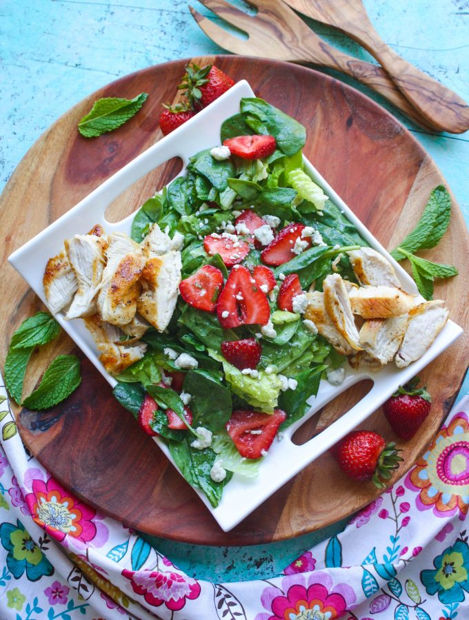 Chicken Salad with Strawberries and Honey-Lemon Mint Dressing