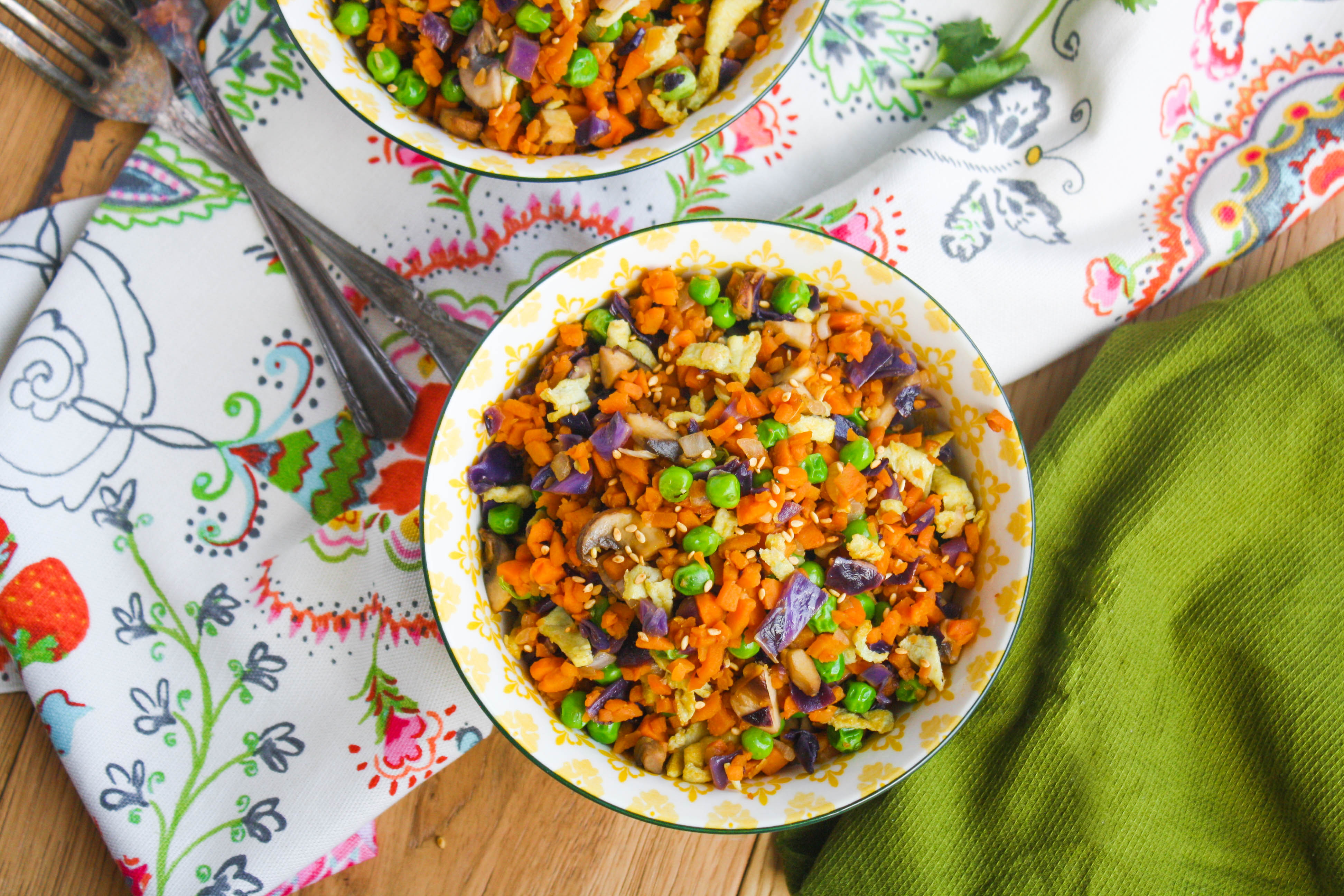 "Sweet Potato ""Fried Rice"" is a healthy side or main dish -- you choose! You'll love the flavors and colors!"