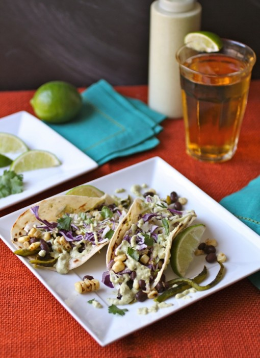 Grilled Corn, Peppers & Black Bean Tacos with Creamy Poblano Sauce