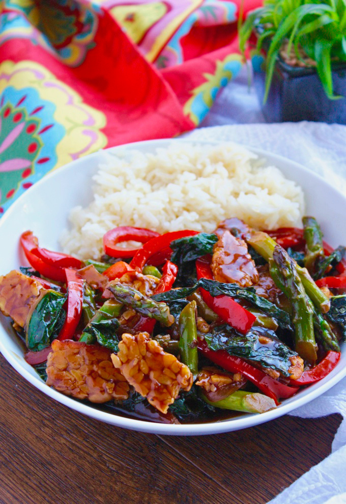 Tempeh and Vegetable Stir-Fry in Teriyaki Sauce is a filling and flavorful dish. You'll love that it's easy to make, too!