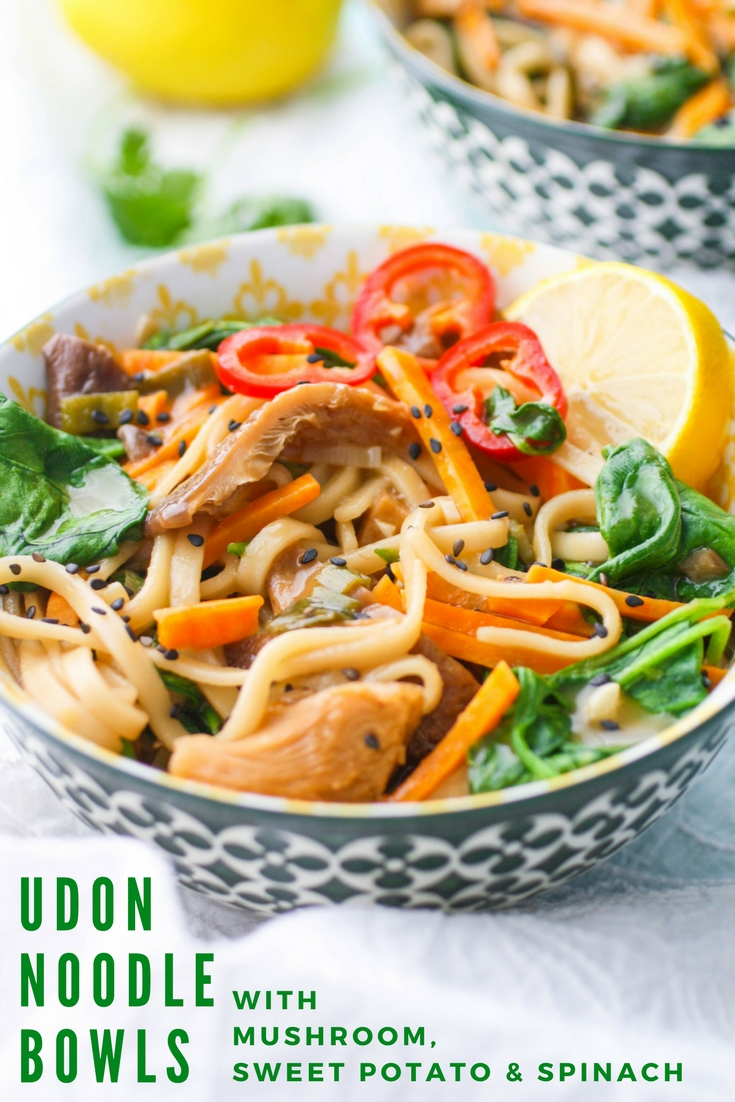 Udon Noodle Bowls with Mushroom, Sweet Potato & Spinach make a satisfying meal. You'll love that you can easily make Udon Noodle Bowls with Mushroom, Sweet Potato & Spinach at home!