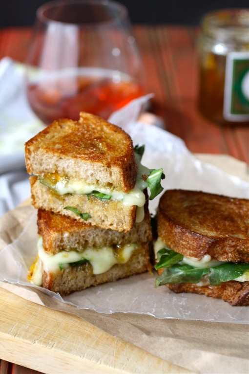 Grilled cheese with brie, fig jam and dandelion greens