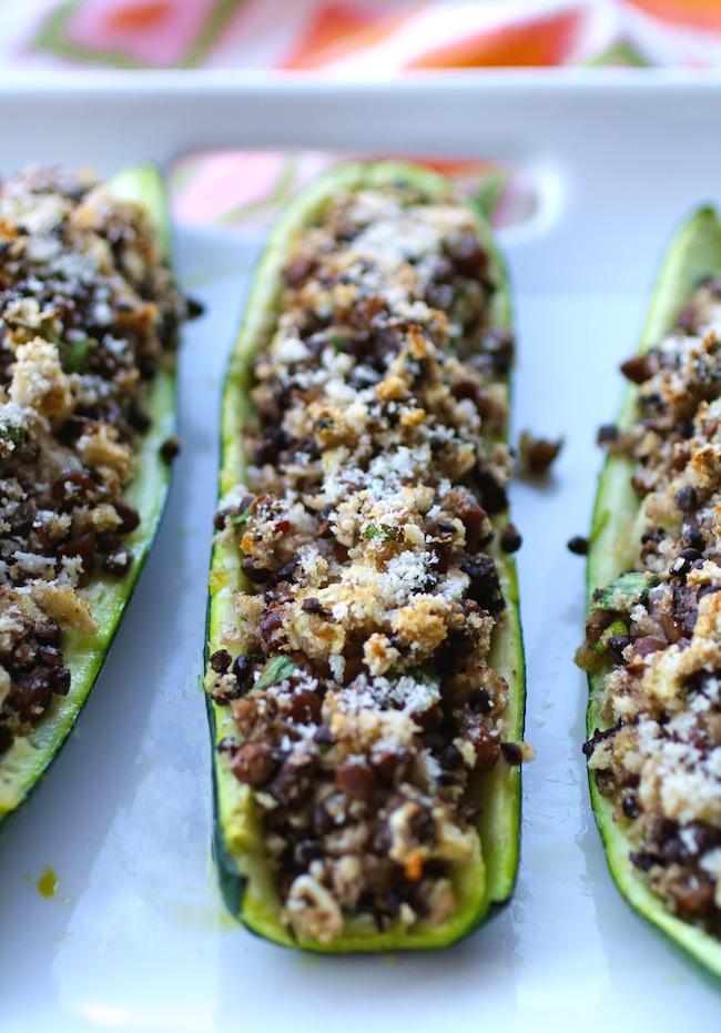 Zucchini Boats Stuffed with Black Lentils & Mushrooms