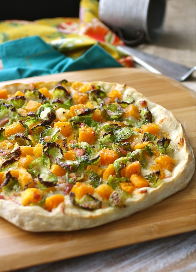 Brussels Sprouts, Butternut Squash and Pancetta Pizza