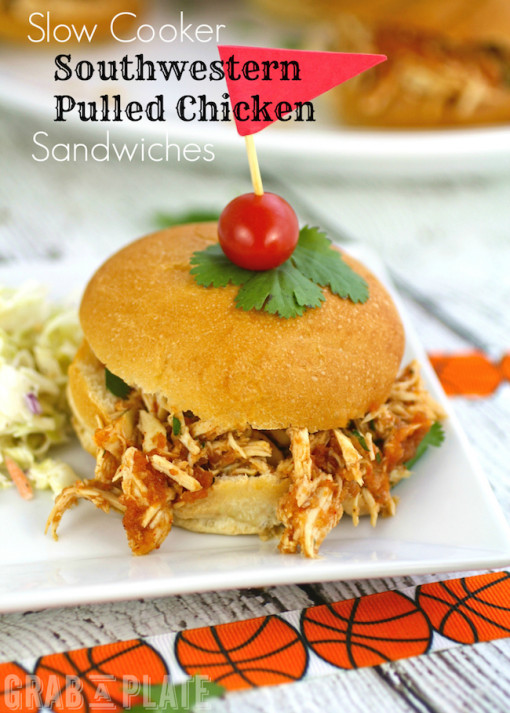 On a plate: Slow Cooker Southwestern Pulled Chicken Sandwiches