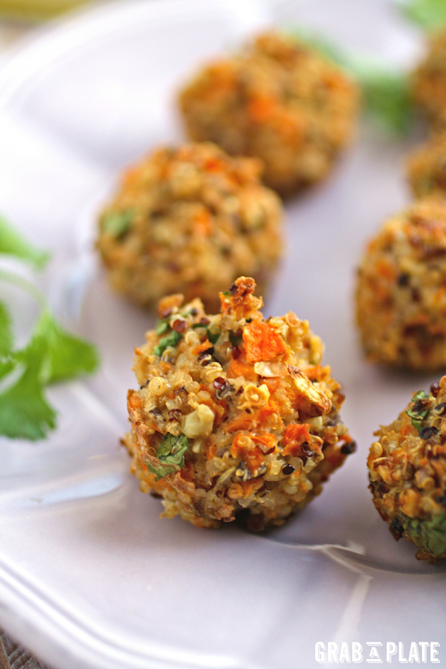 Perfect as a gluten-free snack everyone will love, Quinoa Bites with Carrot and Cilantro are full of flavor