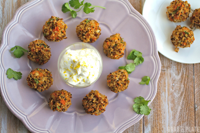 Serve Quinoa Bites with Carrot and Cilantro alone or with a dip