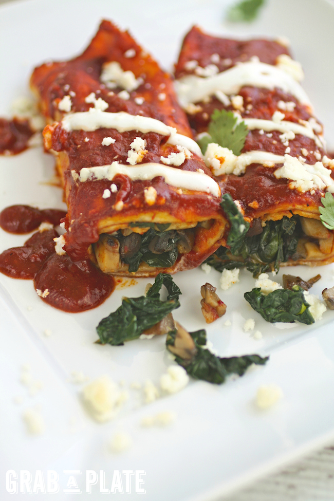 Mushrooms and Kale Enchiladas with Red Sauce are filled with goodness, and perfect for Meatless Monday. You'll love them!
